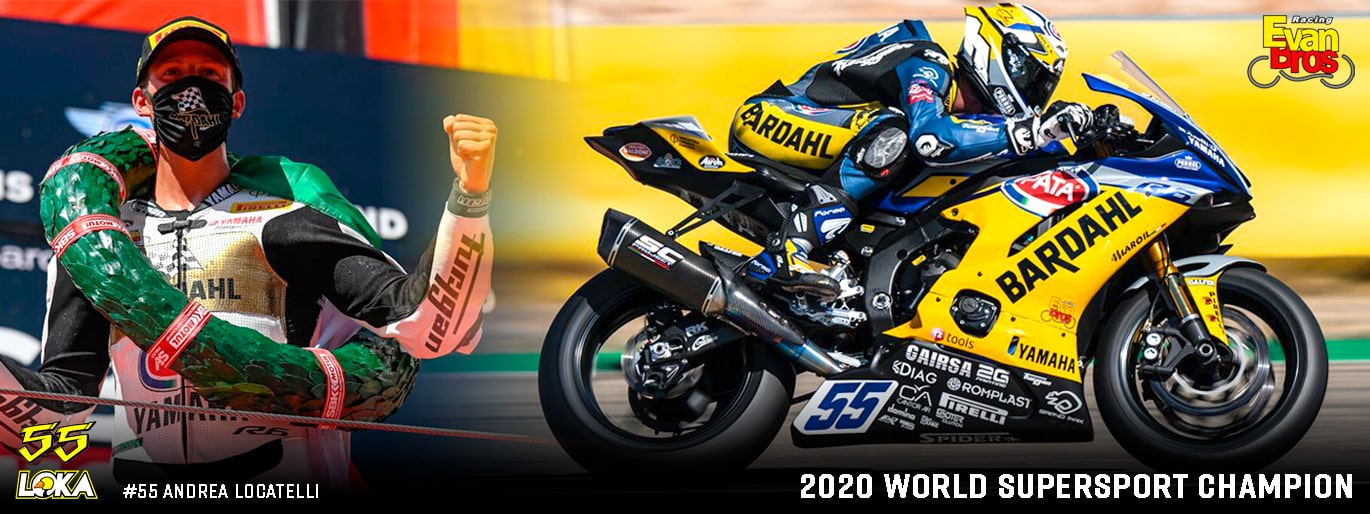 Team EvanBros 2020 world champion WSSP #55 Andrea Locatelli Yamaha R6 SC1-R SC-Project