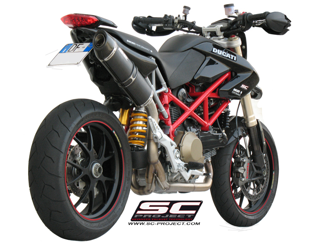 Full Exhaust System 2-1, with Oval Muffler, black satin Steel, with Carbon fiber end cap