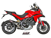 CR-T Muffler, with de-cat link for Ducati Multistrada, Carbon fiber