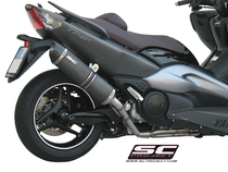 Full Exhaust System 2-1, with Oval Muffler, black brushed stainless Steel, with Carbon fiber end cap